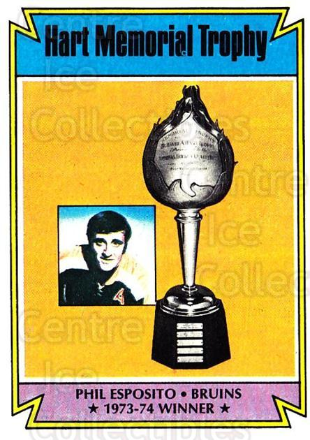 1974-75 Topps #244 Phil Esposito, Hart Trophy<br/>1 In Stock - $3.00 each - <a href=https://centericecollectibles.foxycart.com/cart?name=1974-75%20Topps%20%23244%20Phil%20Esposito,%20...&quantity_max=1&price=$3.00&code=278263 class=foxycart> Buy it now! </a>