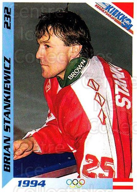 1994 Finnish Jaa Kiekko #232 Brian Stankiewicz<br/>1 In Stock - $2.00 each - <a href=https://centericecollectibles.foxycart.com/cart?name=1994%20Finnish%20Jaa%20Kiekko%20%23232%20Brian%20Stankiewi...&quantity_max=1&price=$2.00&code=2786 class=foxycart> Buy it now! </a>