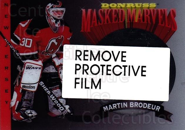 1994-95 Donruss Masked Marvels #2 Martin Brodeur<br/>2 In Stock - $3.00 each - <a href=https://centericecollectibles.foxycart.com/cart?name=1994-95%20Donruss%20Masked%20Marvels%20%232%20Martin%20Brodeur...&price=$3.00&code=279143 class=foxycart> Buy it now! </a>