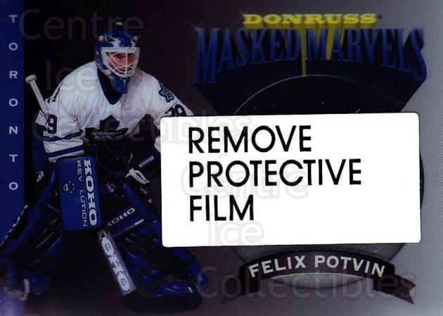 1994-95 Donruss Masked Marvels #7 Felix Potvin<br/>2 In Stock - $3.00 each - <a href=https://centericecollectibles.foxycart.com/cart?name=1994-95%20Donruss%20Masked%20Marvels%20%237%20Felix%20Potvin...&quantity_max=2&price=$3.00&code=279145 class=foxycart> Buy it now! </a>