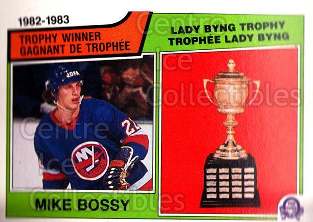 1983-84 O-Pee-Chee #205 Mike Bossy, Lady Byng Trophy<br/>4 In Stock - $1.00 each - <a href=https://centericecollectibles.foxycart.com/cart?name=1983-84%20O-Pee-Chee%20%23205%20Mike%20Bossy,%20Lad...&price=$1.00&code=27968 class=foxycart> Buy it now! </a>