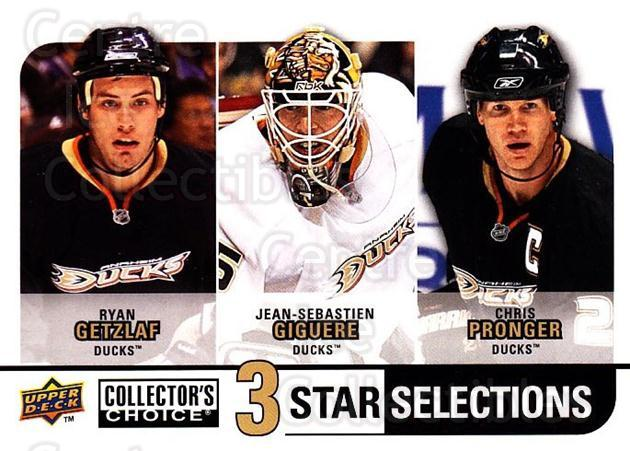 2008-09 Collectors Choice #251 Ryan Getzlaf, Jean-Sebastien Giguere, Chris Pronger<br/>2 In Stock - $3.00 each - <a href=https://centericecollectibles.foxycart.com/cart?name=2008-09%20Collectors%20Choice%20%23251%20Ryan%20Getzlaf,%20J...&quantity_max=2&price=$3.00&code=279927 class=foxycart> Buy it now! </a>