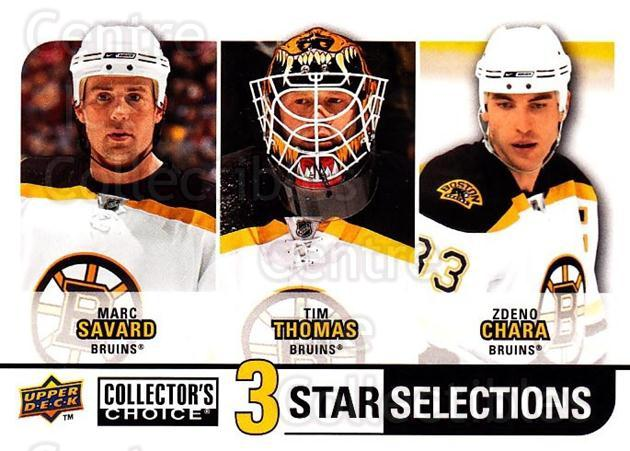 2008-09 Collectors Choice #253 Marc Savard, Tim Thomas, Zdeno Chara<br/>2 In Stock - $3.00 each - <a href=https://centericecollectibles.foxycart.com/cart?name=2008-09%20Collectors%20Choice%20%23253%20Marc%20Savard,%20Ti...&quantity_max=2&price=$3.00&code=279929 class=foxycart> Buy it now! </a>