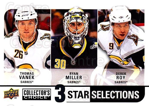 2008-09 Collectors Choice #254 Thomas Vanek, Ryan Miller, Derek Roy<br/>2 In Stock - $3.00 each - <a href=https://centericecollectibles.foxycart.com/cart?name=2008-09%20Collectors%20Choice%20%23254%20Thomas%20Vanek,%20R...&quantity_max=2&price=$3.00&code=279930 class=foxycart> Buy it now! </a>