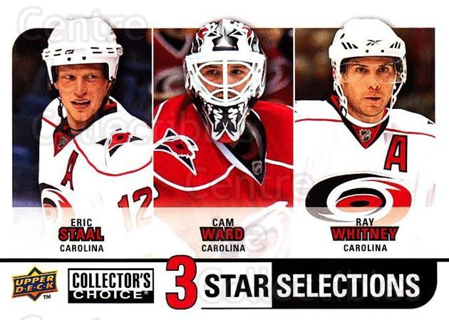 2008-09 Collectors Choice #256 Eric Staal, Cam Ward, Ray Whitney<br/>2 In Stock - $3.00 each - <a href=https://centericecollectibles.foxycart.com/cart?name=2008-09%20Collectors%20Choice%20%23256%20Eric%20Staal,%20Cam...&quantity_max=2&price=$3.00&code=279932 class=foxycart> Buy it now! </a>