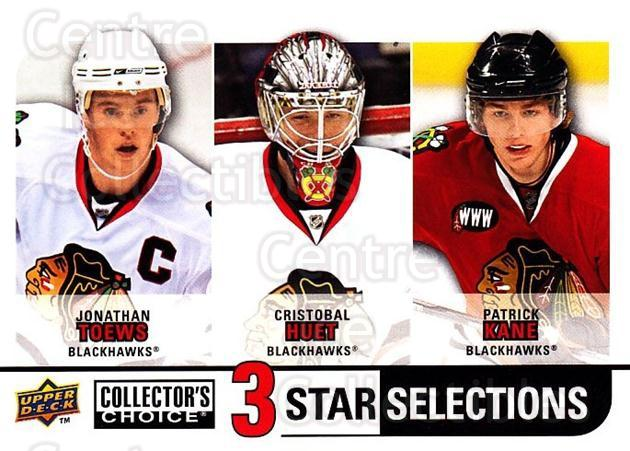 2008-09 Collectors Choice #257 Jonathan Toews, Cristobal Huet, Patrick Kane<br/>2 In Stock - $3.00 each - <a href=https://centericecollectibles.foxycart.com/cart?name=2008-09%20Collectors%20Choice%20%23257%20Jonathan%20Toews,...&quantity_max=2&price=$3.00&code=279933 class=foxycart> Buy it now! </a>