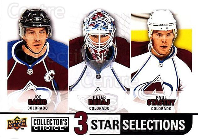 2008-09 Collectors Choice #258 Joe Sakic, Peter Budaj, Paul Stastny<br/>2 In Stock - $3.00 each - <a href=https://centericecollectibles.foxycart.com/cart?name=2008-09%20Collectors%20Choice%20%23258%20Joe%20Sakic,%20Pete...&quantity_max=2&price=$3.00&code=279934 class=foxycart> Buy it now! </a>