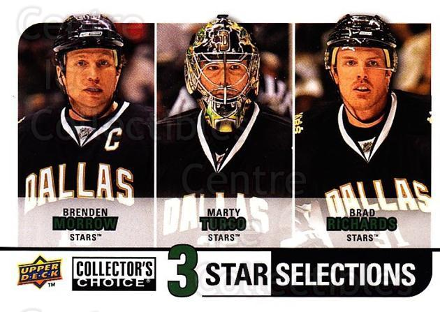 2008-09 Collectors Choice #260 Brenden Morrow, Marty Turco, Brad Richards<br/>2 In Stock - $3.00 each - <a href=https://centericecollectibles.foxycart.com/cart?name=2008-09%20Collectors%20Choice%20%23260%20Brenden%20Morrow,...&quantity_max=2&price=$3.00&code=279936 class=foxycart> Buy it now! </a>