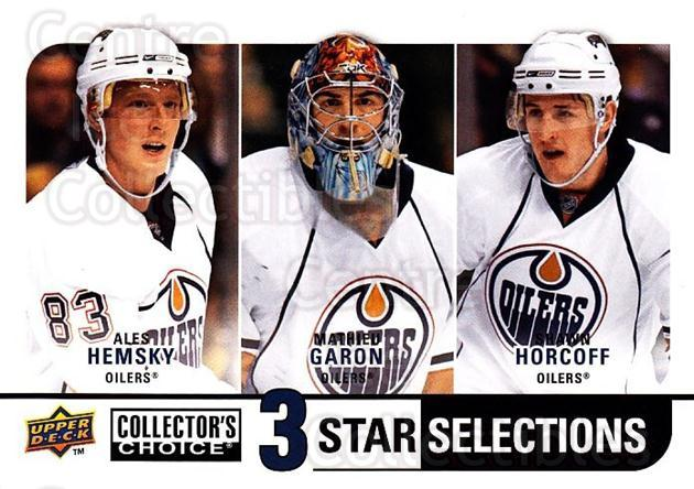 2008-09 Collectors Choice #262 Ales Hemsky, Mathieu Garon, Shawn Horcoff<br/>3 In Stock - $3.00 each - <a href=https://centericecollectibles.foxycart.com/cart?name=2008-09%20Collectors%20Choice%20%23262%20Ales%20Hemsky,%20Ma...&quantity_max=3&price=$3.00&code=279938 class=foxycart> Buy it now! </a>