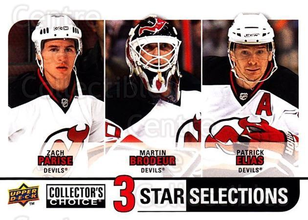 2008-09 Collectors Choice #268 Zach Parise, Martin Brodeur, Patrik Elias<br/>1 In Stock - $3.00 each - <a href=https://centericecollectibles.foxycart.com/cart?name=2008-09%20Collectors%20Choice%20%23268%20Zach%20Parise,%20Ma...&quantity_max=1&price=$3.00&code=279944 class=foxycart> Buy it now! </a>