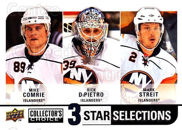 2008-09 Collectors Choice #269 Mike Comrie, Rick DiPietro, Mark Streit<br/>1 In Stock - $3.00 each - <a href=https://centericecollectibles.foxycart.com/cart?name=2008-09%20Collectors%20Choice%20%23269%20Mike%20Comrie,%20Ri...&quantity_max=1&price=$3.00&code=279945 class=foxycart> Buy it now! </a>