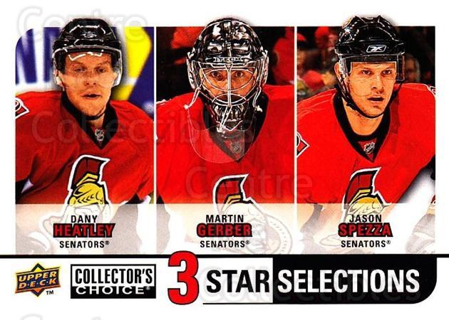 2008-09 Collectors Choice #271 Dany Heatley, Martin Gerber, Jason Spezza<br/>2 In Stock - $3.00 each - <a href=https://centericecollectibles.foxycart.com/cart?name=2008-09%20Collectors%20Choice%20%23271%20Dany%20Heatley,%20M...&quantity_max=2&price=$3.00&code=279947 class=foxycart> Buy it now! </a>