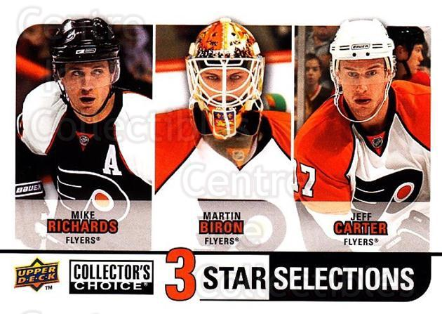 2008-09 Collectors Choice #272 Mike Richards, Martin Biron, Jeff Carter<br/>2 In Stock - $3.00 each - <a href=https://centericecollectibles.foxycart.com/cart?name=2008-09%20Collectors%20Choice%20%23272%20Mike%20Richards,%20...&quantity_max=2&price=$3.00&code=279948 class=foxycart> Buy it now! </a>