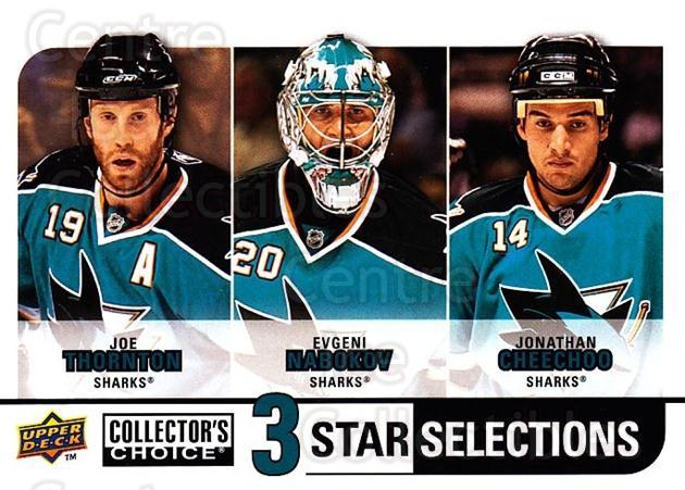 2008-09 Collectors Choice #275 Joe Thornton, Evgeni Nabokov, Jonathan Cheechoo<br/>2 In Stock - $3.00 each - <a href=https://centericecollectibles.foxycart.com/cart?name=2008-09%20Collectors%20Choice%20%23275%20Joe%20Thornton,%20E...&quantity_max=2&price=$3.00&code=279951 class=foxycart> Buy it now! </a>