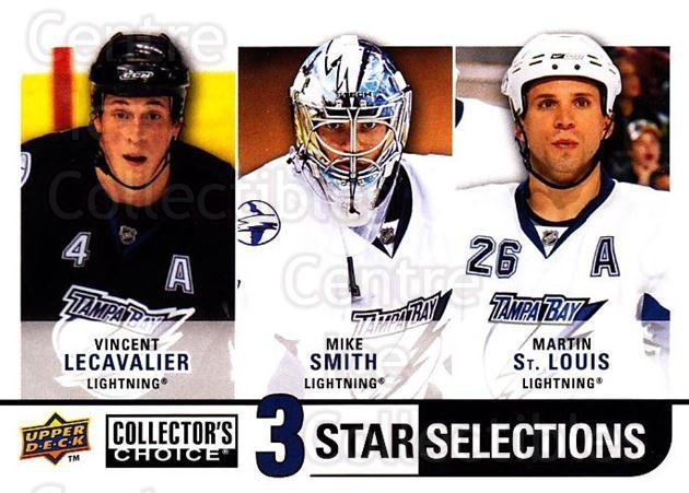2008-09 Collectors Choice #277 Vincent Lecavalier, Mike Smith, Martin St. Louis<br/>2 In Stock - $3.00 each - <a href=https://centericecollectibles.foxycart.com/cart?name=2008-09%20Collectors%20Choice%20%23277%20Vincent%20Lecaval...&quantity_max=2&price=$3.00&code=279953 class=foxycart> Buy it now! </a>