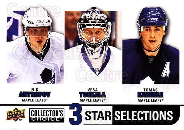 2008-09 Collectors Choice #278 Nik Antropov, Vesa Toskala, Tomas Kaberle<br/>2 In Stock - $3.00 each - <a href=https://centericecollectibles.foxycart.com/cart?name=2008-09%20Collectors%20Choice%20%23278%20Nik%20Antropov,%20V...&quantity_max=2&price=$3.00&code=279954 class=foxycart> Buy it now! </a>