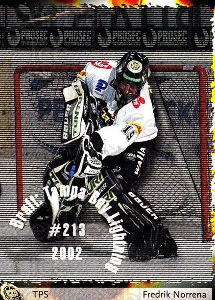 2002-03 Finnish Cardset #84 Fredrik Norrena<br/>1 In Stock - $2.00 each - <a href=https://centericecollectibles.foxycart.com/cart?name=2002-03%20Finnish%20Cardset%20%2384%20Fredrik%20Norrena...&quantity_max=1&price=$2.00&code=280412 class=foxycart> Buy it now! </a>