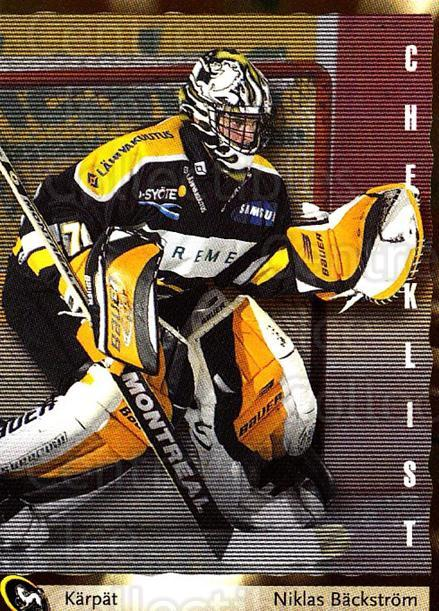 2002-03 Finnish Cardset #148 Niklas Backstrom, Checklist<br/>1 In Stock - $2.00 each - <a href=https://centericecollectibles.foxycart.com/cart?name=2002-03%20Finnish%20Cardset%20%23148%20Niklas%20Backstro...&quantity_max=1&price=$2.00&code=280417 class=foxycart> Buy it now! </a>