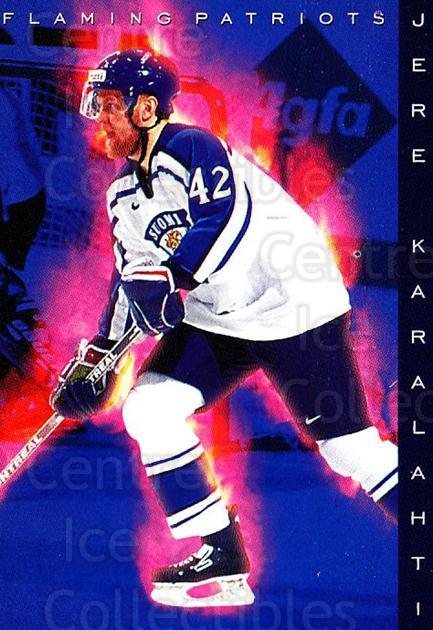 1999-00 Finnish Cardset #182 Jere Karalahti<br/>3 In Stock - $2.00 each - <a href=https://centericecollectibles.foxycart.com/cart?name=1999-00%20Finnish%20Cardset%20%23182%20Jere%20Karalahti...&quantity_max=3&price=$2.00&code=280453 class=foxycart> Buy it now! </a>