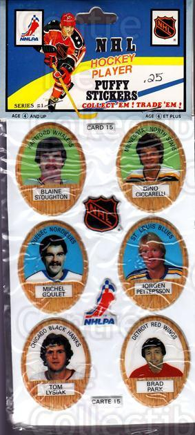 1983-84 Puffy Stickers #15 Blaine Stoughton, Dino Ciccarelli, Michel Goulet, Jorgen Pettersson, Tom Lysiak, Brad Park<br/>3 In Stock - $5.00 each - <a href=https://centericecollectibles.foxycart.com/cart?name=1983-84%20Puffy%20Stickers%20%2315%20Blaine%20Stoughto...&quantity_max=3&price=$5.00&code=28058 class=foxycart> Buy it now! </a>