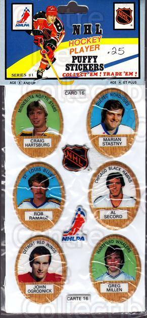 1983-84 Puffy Stickers #16 Craig Hartsburg, Marian Stastny, Rob Ramage, Al Secord, John Ogrodnick, Greg Millen<br/>2 In Stock - $5.00 each - <a href=https://centericecollectibles.foxycart.com/cart?name=1983-84%20Puffy%20Stickers%20%2316%20Craig%20Hartsburg...&quantity_max=2&price=$5.00&code=28059 class=foxycart> Buy it now! </a>