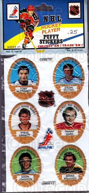 1983-84 Puffy Stickers #17 Tony McKegney, Brian Sutter, Steve Larmer, Danny Gare, Mark Johnson, Brian Bellows<br/>2 In Stock - $5.00 each - <a href=https://centericecollectibles.foxycart.com/cart?name=1983-84%20Puffy%20Stickers%20%2317%20Tony%20McKegney,%20...&quantity_max=2&price=$5.00&code=28060 class=foxycart> Buy it now! </a>