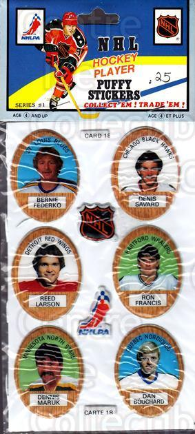 1983-84 Puffy Stickers #18 Bernie Federko, Denis Savard, Reed Larson, Ron Francis, Dennis Maruk, Dan Bouchard<br/>4 In Stock - $5.00 each - <a href=https://centericecollectibles.foxycart.com/cart?name=1983-84%20Puffy%20Stickers%20%2318%20Bernie%20Federko,...&quantity_max=4&price=$5.00&code=28061 class=foxycart> Buy it now! </a>