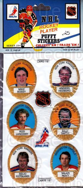 1983-84 Puffy Stickers #19 Mike Bossy, Anders Hedberg, Rod Langway, Billy Smith, Reijo Ruotsalainen, Milan Novy<br/>1 In Stock - $5.00 each - <a href=https://centericecollectibles.foxycart.com/cart?name=1983-84%20Puffy%20Stickers%20%2319%20Mike%20Bossy,%20And...&quantity_max=1&price=$5.00&code=28062 class=foxycart> Buy it now! </a>