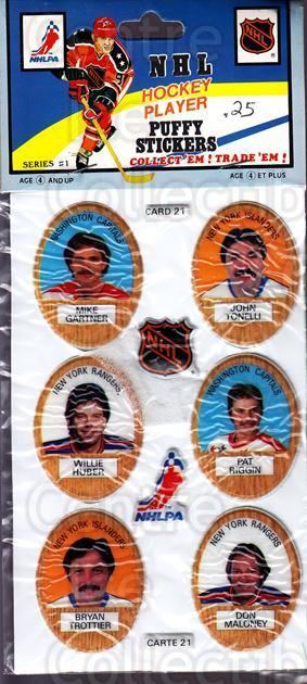 1983-84 Puffy Stickers #21 Mike Gartner, John Tonelli, Willie Huber, Pat Riggin, Bryan Trottier, Don Maloney<br/>3 In Stock - $5.00 each - <a href=https://centericecollectibles.foxycart.com/cart?name=1983-84%20Puffy%20Stickers%20%2321%20Mike%20Gartner,%20J...&quantity_max=3&price=$5.00&code=28065 class=foxycart> Buy it now! </a>