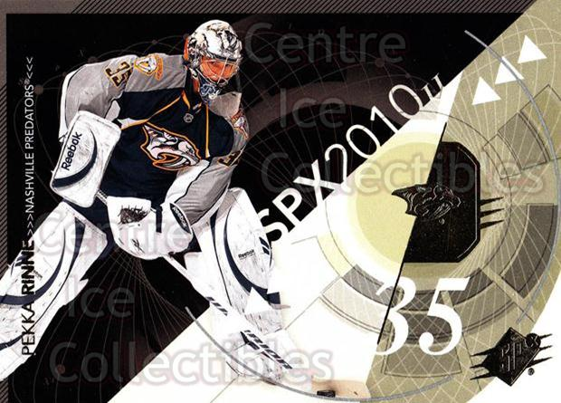 2010-11 Spx #54 Pekka Rinne<br/>13 In Stock - $1.00 each - <a href=https://centericecollectibles.foxycart.com/cart?name=2010-11%20Spx%20%2354%20Pekka%20Rinne...&quantity_max=13&price=$1.00&code=280723 class=foxycart> Buy it now! </a>