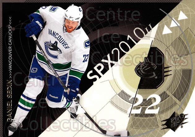2010-11 Spx #97 Daniel Sedin<br/>13 In Stock - $1.00 each - <a href=https://centericecollectibles.foxycart.com/cart?name=2010-11%20Spx%20%2397%20Daniel%20Sedin...&quantity_max=13&price=$1.00&code=280766 class=foxycart> Buy it now! </a>