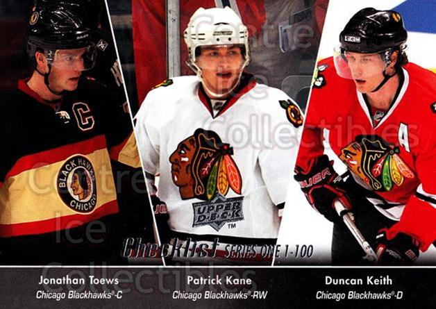 2010-11 Upper Deck #199 Jonathan Toews, Duncan Keith, Patrick Kane, Checklist<br/>9 In Stock - $2.00 each - <a href=https://centericecollectibles.foxycart.com/cart?name=2010-11%20Upper%20Deck%20%23199%20Jonathan%20Toews,...&quantity_max=9&price=$2.00&code=281168 class=foxycart> Buy it now! </a>