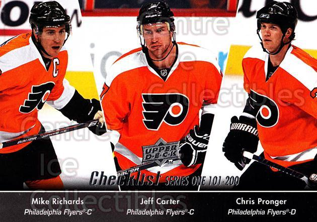 2010-11 Upper Deck #200 Mike Richards, Chris Pronger, Jeff Carter, Checklist<br/>10 In Stock - $1.00 each - <a href=https://centericecollectibles.foxycart.com/cart?name=2010-11%20Upper%20Deck%20%23200%20Mike%20Richards,%20...&quantity_max=10&price=$1.00&code=281169 class=foxycart> Buy it now! </a>