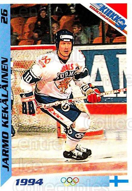 1994 Finnish Jaa Kiekko #26 Jarmo Kekalainen<br/>4 In Stock - $2.00 each - <a href=https://centericecollectibles.foxycart.com/cart?name=1994%20Finnish%20Jaa%20Kiekko%20%2326%20Jarmo%20Kekalaine...&quantity_max=4&price=$2.00&code=2811 class=foxycart> Buy it now! </a>