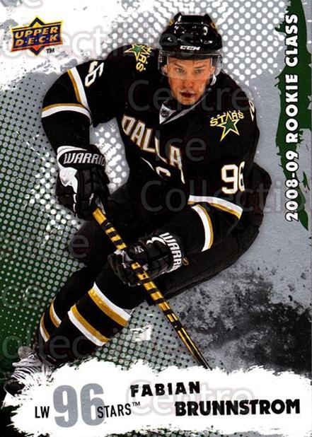 2008-09 Upper Deck Rookie Class #34 Fabian Brunnstrom<br/>8 In Stock - $2.00 each - <a href=https://centericecollectibles.foxycart.com/cart?name=2008-09%20Upper%20Deck%20Rookie%20Class%20%2334%20Fabian%20Brunnstr...&quantity_max=8&price=$2.00&code=281713 class=foxycart> Buy it now! </a>