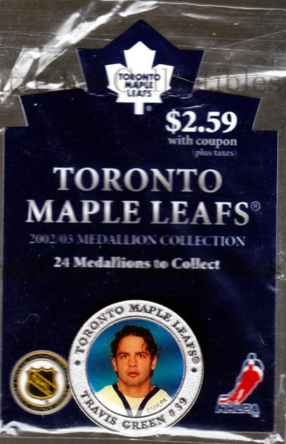 2002-03 Toronto Maple Leafs Medallion #8 Travis Green<br/>4 In Stock - $5.00 each - <a href=https://centericecollectibles.foxycart.com/cart?name=2002-03%20Toronto%20Maple%20Leafs%20Medallion%20%238%20Travis%20Green...&quantity_max=4&price=$5.00&code=281997 class=foxycart> Buy it now! </a>