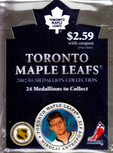 2002-03 Toronto Maple Leafs Medallion #1 Nik Antropov<br/>2 In Stock - $5.00 each - <a href=https://centericecollectibles.foxycart.com/cart?name=2002-03%20Toronto%20Maple%20Leafs%20Medallion%20%231%20Nik%20Antropov...&quantity_max=2&price=$5.00&code=282004 class=foxycart> Buy it now! </a>
