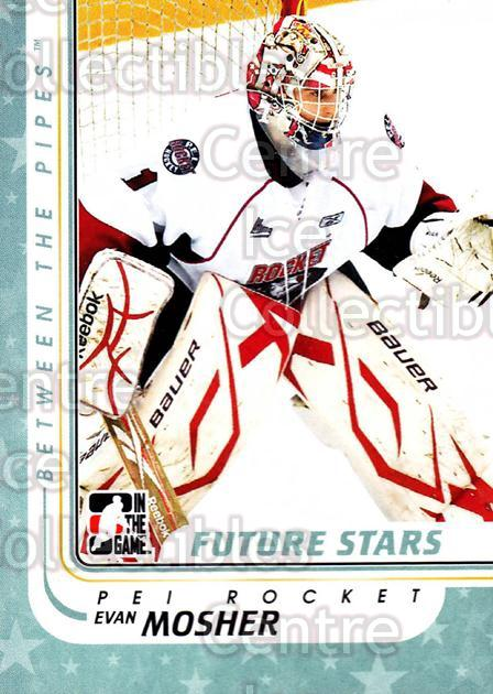 2010-11 Between The Pipes #11 Evan Mosher<br/>19 In Stock - $1.00 each - <a href=https://centericecollectibles.foxycart.com/cart?name=2010-11%20Between%20The%20Pipes%20%2311%20Evan%20Mosher...&price=$1.00&code=282379 class=foxycart> Buy it now! </a>