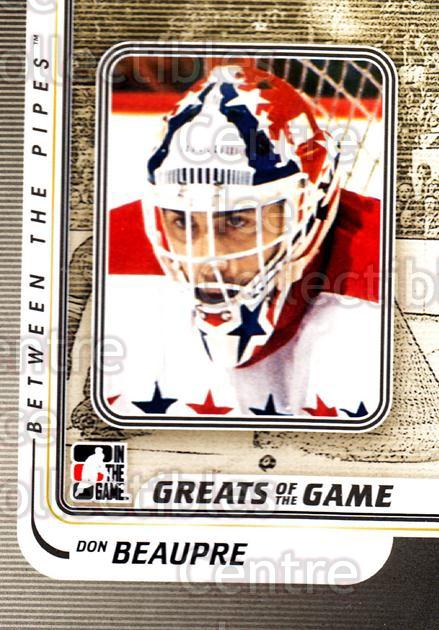 2010-11 Between The Pipes #157 Don Beaupre<br/>20 In Stock - $1.00 each - <a href=https://centericecollectibles.foxycart.com/cart?name=2010-11%20Between%20The%20Pipes%20%23157%20Don%20Beaupre...&price=$1.00&code=282525 class=foxycart> Buy it now! </a>