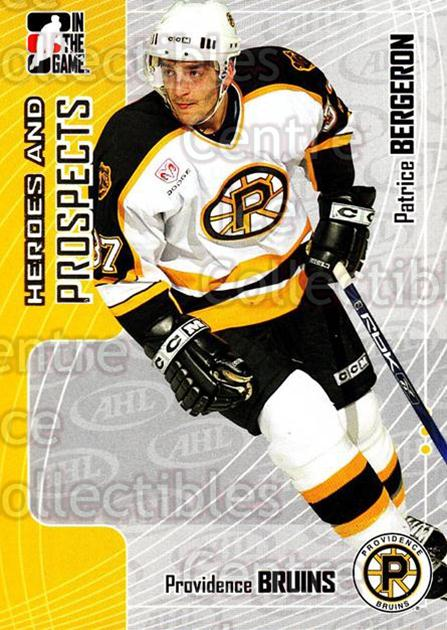2005-06 ITG Heroes and Prospects #81 Patrice Bergeron<br/>18 In Stock - $1.00 each - <a href=https://centericecollectibles.foxycart.com/cart?name=2005-06%20ITG%20Heroes%20and%20Prospects%20%2381%20Patrice%20Bergero...&price=$1.00&code=282961 class=foxycart> Buy it now! </a>