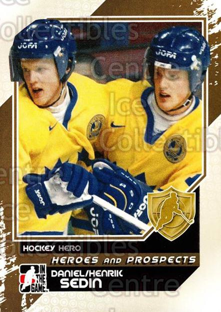 2010-11 ITG Heroes and Prospects #1 Daniel Sedin, Henrik Sedin<br/>23 In Stock - $1.00 each - <a href=https://centericecollectibles.foxycart.com/cart?name=2010-11%20ITG%20Heroes%20and%20Prospects%20%231%20Daniel%20Sedin,%20H...&price=$1.00&code=283080 class=foxycart> Buy it now! </a>