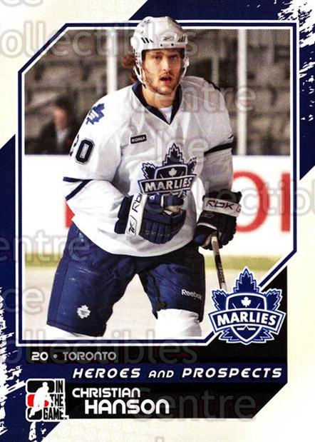 2010-11 ITG Heroes and Prospects #125 Christian Hanson<br/>24 In Stock - $1.00 each - <a href=https://centericecollectibles.foxycart.com/cart?name=2010-11%20ITG%20Heroes%20and%20Prospects%20%23125%20Christian%20Hanso...&quantity_max=24&price=$1.00&code=283204 class=foxycart> Buy it now! </a>