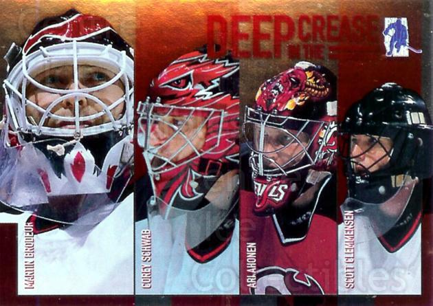 2003-04 BAP Memorabilia Deep in the Crease #4 Martin Brodeur, Corey Schwab, Ari Ahonen, Scott Clemmensen<br/>39 In Stock - $3.00 each - <a href=https://centericecollectibles.foxycart.com/cart?name=2003-04%20BAP%20Memorabilia%20Deep%20in%20the%20Crease%20%234%20Martin%20Brodeur,...&price=$3.00&code=283249 class=foxycart> Buy it now! </a>