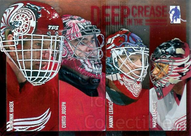 2003-04 BAP Memorabilia Deep in the Crease #8 Dominik Hasek, Curtis Joseph, Manny Legace, Marc Lamothe<br/>8 In Stock - $3.00 each - <a href=https://centericecollectibles.foxycart.com/cart?name=2003-04%20BAP%20Memorabilia%20Deep%20in%20the%20Crease%20%238%20Dominik%20Hasek,%20...&quantity_max=8&price=$3.00&code=283250 class=foxycart> Buy it now! </a>