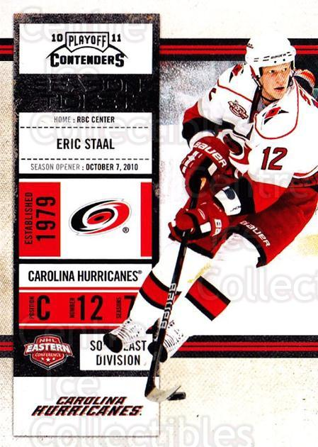 2010-11 Panini Contenders #4 Eric Staal<br/>3 In Stock - $1.00 each - <a href=https://centericecollectibles.foxycart.com/cart?name=2010-11%20Panini%20Contenders%20%234%20Eric%20Staal...&quantity_max=3&price=$1.00&code=283288 class=foxycart> Buy it now! </a>