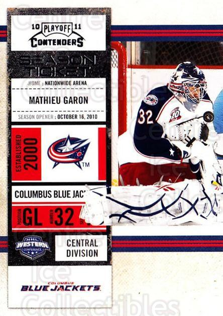 2010-11 Panini Contenders #6 Mathieu Garon<br/>3 In Stock - $1.00 each - <a href=https://centericecollectibles.foxycart.com/cart?name=2010-11%20Panini%20Contenders%20%236%20Mathieu%20Garon...&quantity_max=3&price=$1.00&code=283290 class=foxycart> Buy it now! </a>