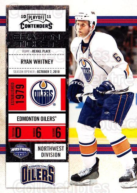 2010-11 Panini Contenders #8 Ryan Whitney<br/>3 In Stock - $1.00 each - <a href=https://centericecollectibles.foxycart.com/cart?name=2010-11%20Panini%20Contenders%20%238%20Ryan%20Whitney...&quantity_max=3&price=$1.00&code=283292 class=foxycart> Buy it now! </a>