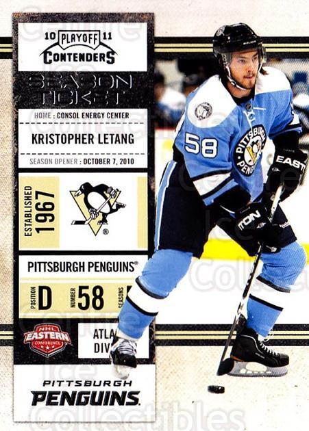 2010-11 Panini Contenders #15 Kristopher Letang<br/>3 In Stock - $1.00 each - <a href=https://centericecollectibles.foxycart.com/cart?name=2010-11%20Panini%20Contenders%20%2315%20Kristopher%20Leta...&quantity_max=3&price=$1.00&code=283299 class=foxycart> Buy it now! </a>