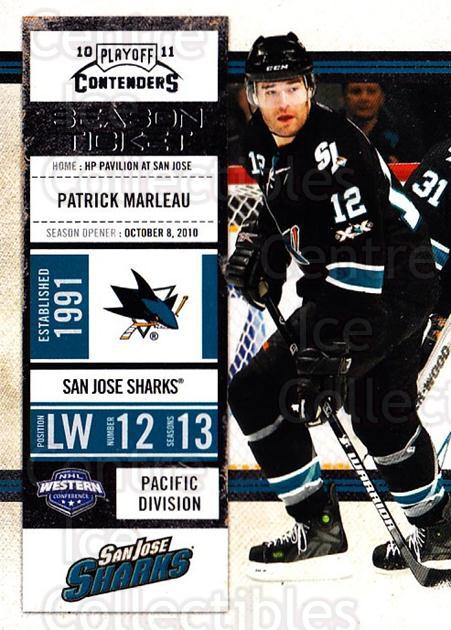 2010-11 Panini Contenders #16 Patrick Marleau<br/>3 In Stock - $1.00 each - <a href=https://centericecollectibles.foxycart.com/cart?name=2010-11%20Panini%20Contenders%20%2316%20Patrick%20Marleau...&quantity_max=3&price=$1.00&code=283300 class=foxycart> Buy it now! </a>