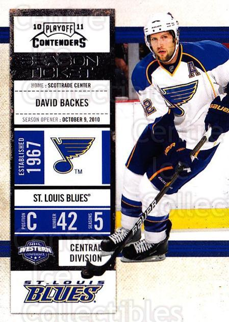 2010-11 Panini Contenders #17 David Backes<br/>3 In Stock - $1.00 each - <a href=https://centericecollectibles.foxycart.com/cart?name=2010-11%20Panini%20Contenders%20%2317%20David%20Backes...&quantity_max=3&price=$1.00&code=283301 class=foxycart> Buy it now! </a>